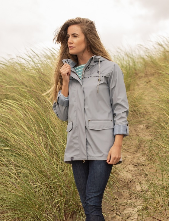 Bowline Ladies Short Waterproof Coat - Harbour Mist