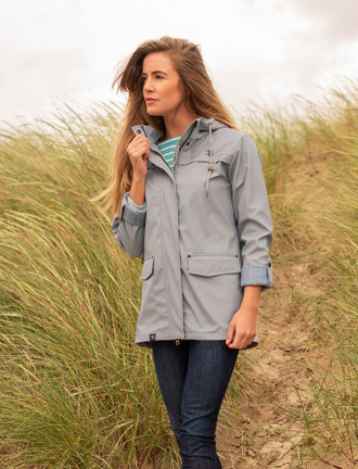 Eochaill Ladies Short Waterproof Coat - Harbour Mist