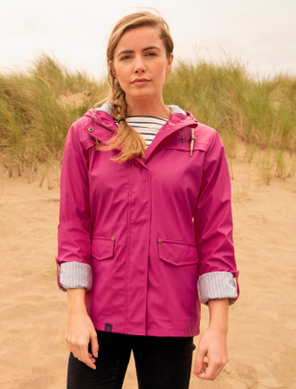 Eochaill Ladies Short Waterproof Coat - Raspberry