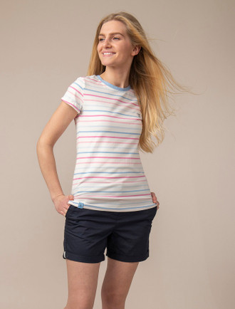 Breacan Short Sleeved T-Shirt - Pink & Blue Stripe