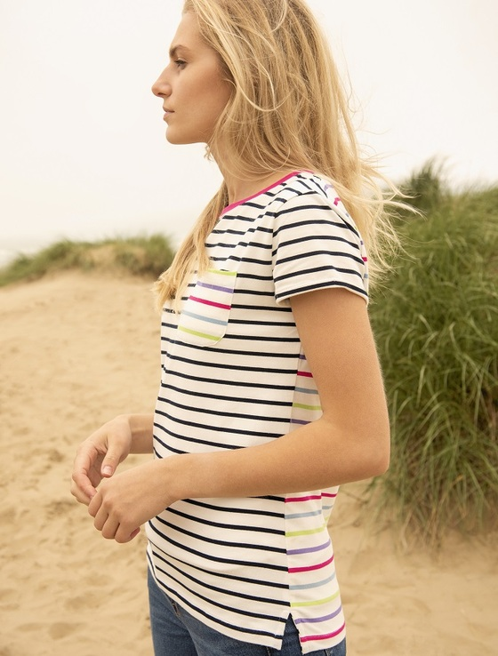 Causeway Short Sleeved T-Shirt - Navy Multi-Stripe