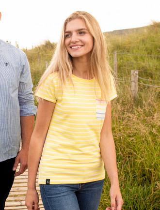 Causeway Short Sleeved T-Shirt - Lemon Multi-Stripe