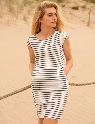 Liliana Cotton Short Sleeve Dress -  Midnight Stripe
