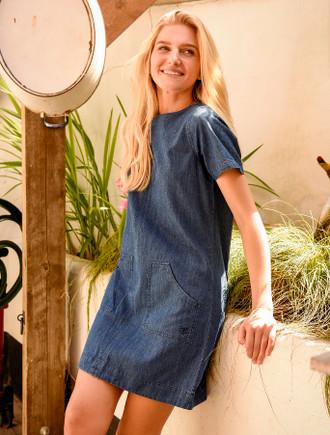 Anna Cotton Short Sleeve Dress -  Denim