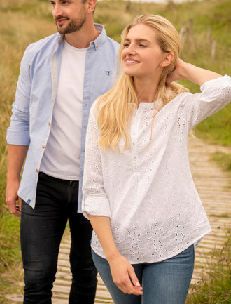 Inis Ladies Cotton Shirt - Broderie Anglaise