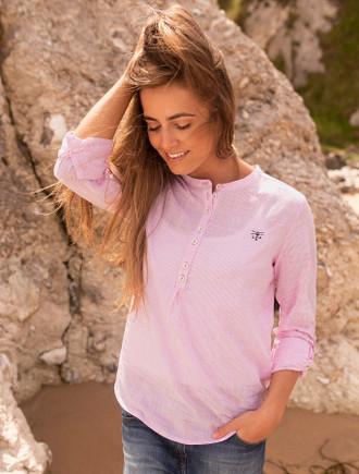 Bayside Ladies Cotton Shirt -  Rosepink Stripe