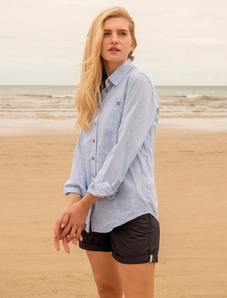 Ocean Ladies Cotton Shirt - Oxford Stripe