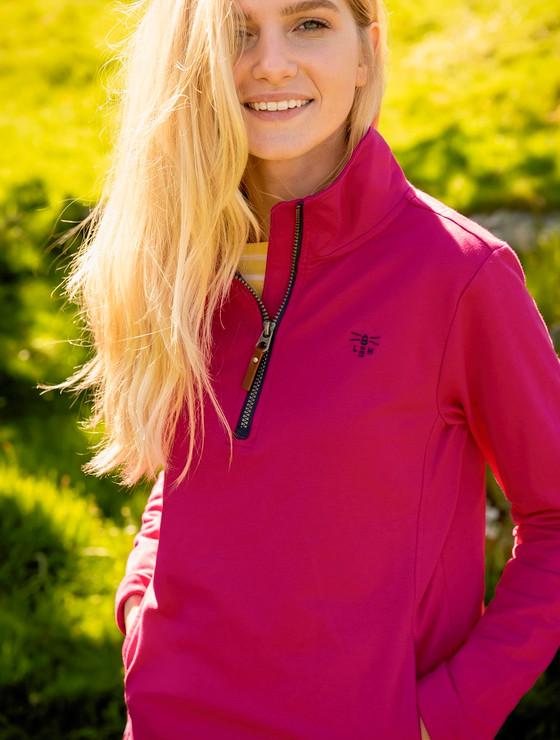 Ladies Shore Half Zip Sweater - Raspberry
