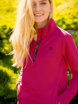 Ladies Corruch Half Zip Sweater - Raspberry