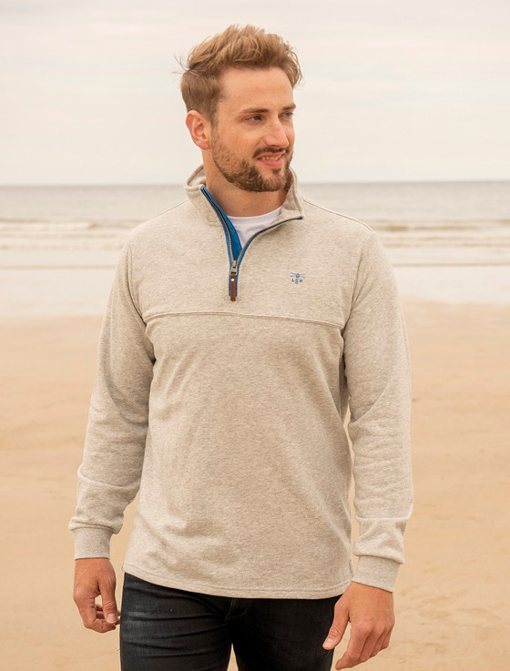 Seafarer Men's Half-Zip Sweater- Grey Marl