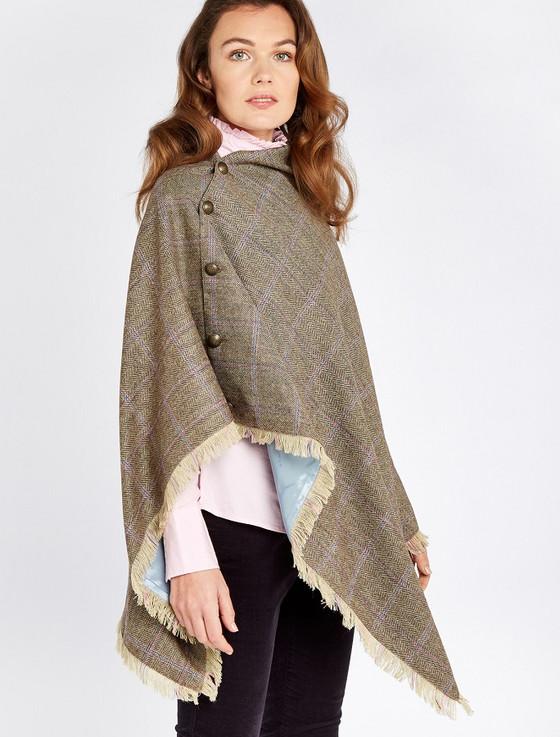 Hazelwood Pure Wool Tweed Poncho - Woodrose