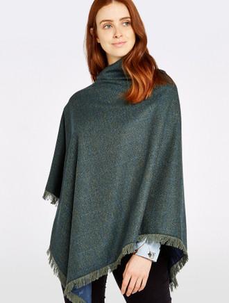 Hazelwood Pure Wool Tweed Poncho - Mist