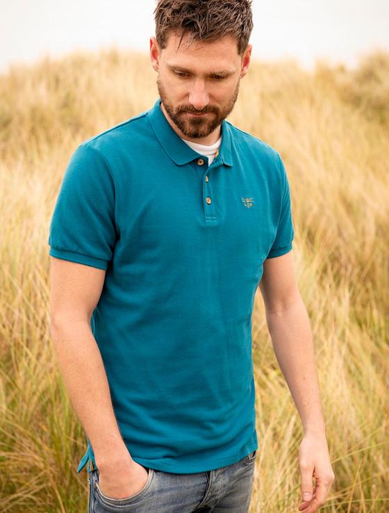Pier Cotton Short Sleeve Polo Shirt - Petrol