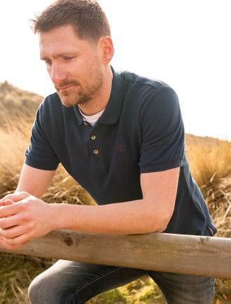Pier Cotton Short Sleeve Polo Shirt - Navy