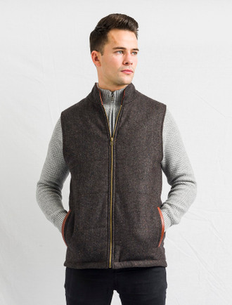 Men's Tweed Body Warmer - Brown
