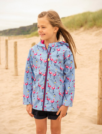Olivia Girls Waterproof Coat - Flamingo print