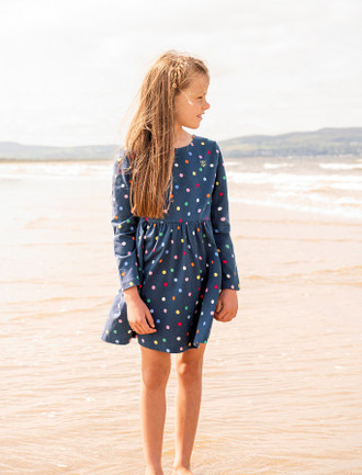 Ellie Girls Long Sleeve Dress - Dot Print