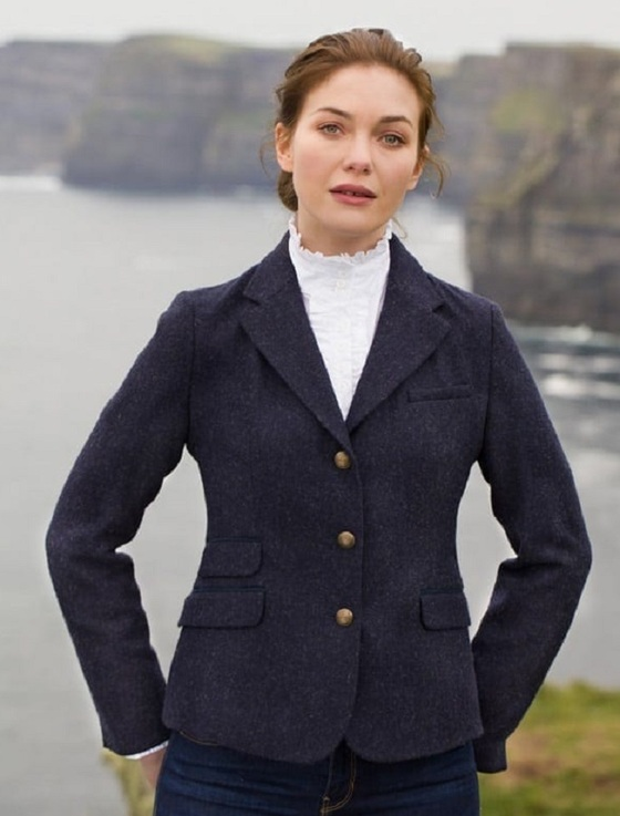 Buttercup Ladies Fitted Tweed Jacket- Navy