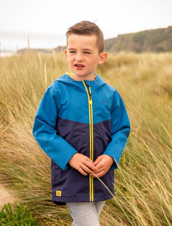 Luke Boys Raincoat - Ocean Blue & Navy
