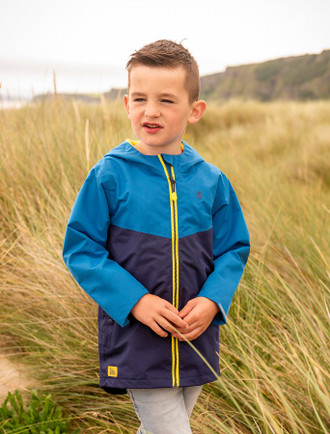 Luke Boys Raincoat - Ocean Blue & Navy