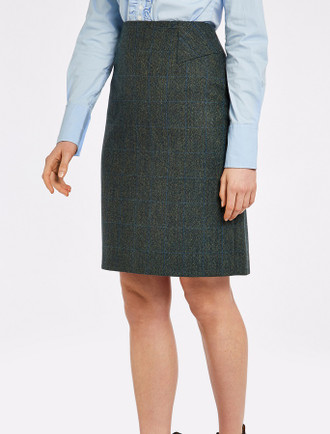 Fern Ladies Fitted Tweed Knee Length Skirt - Mist