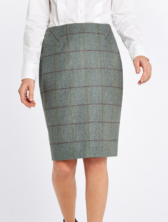 Fern Ladies Fitted Tweed Knee Length Skirt - Sorrel