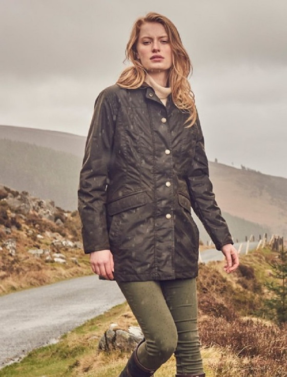 Baltray Ladies Waxed Jacket - Olive