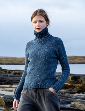 Extra Soft Turtleneck Sweater With Ribbed Trims