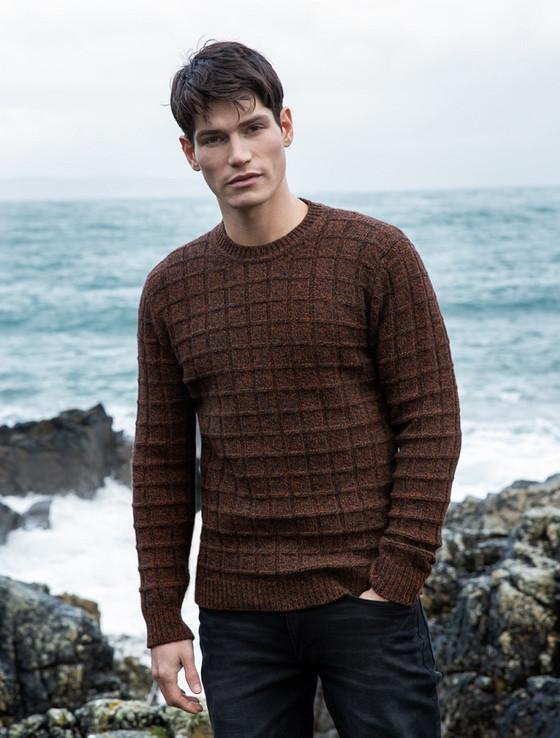Brick Stitch Wool Cashmere Sweater - Rust