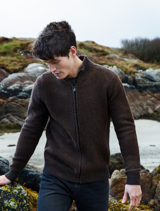 Mens Full Zip Geelong Lambswool Cardigan - Copper