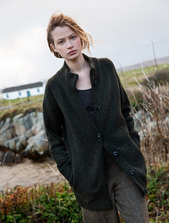 Long Buttoned Cardigan With Pockets - Hunter Green