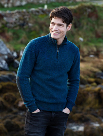 Men's Lambswool Half Zip Sweater -With Tweed Patches