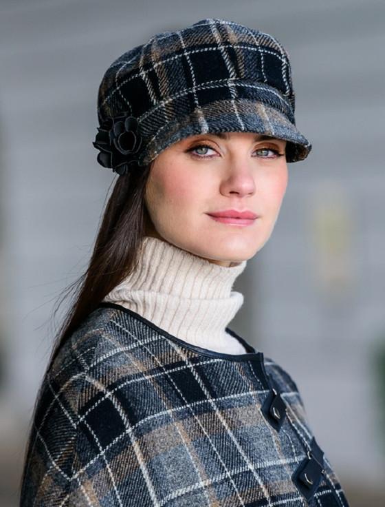 Ladies Tweed Newsboy Hat - Grey & Black Plaid