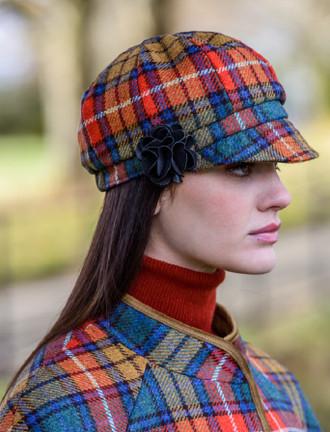 Ladies Tweed Newsboy Hat - Summer Plaid