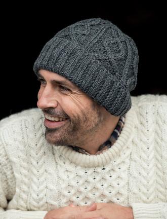 Men's Aran Super Soft Merino Wool Hat - Slate Grey