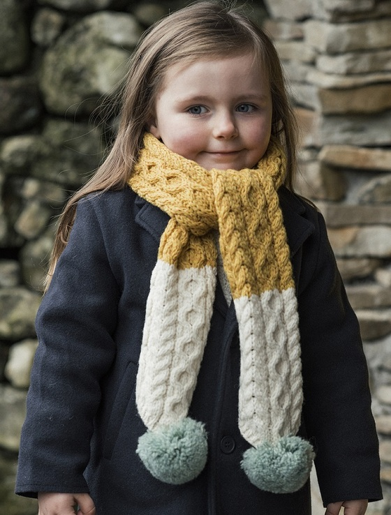 Children's Merino Knitted Scarf With Mint Pompom