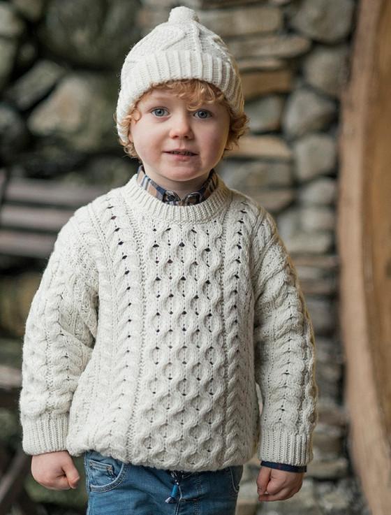 Kid's Super Soft Merino Wool Aran Sweater - White