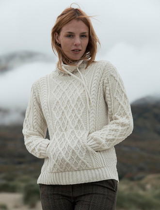 Ladies Drawstring Super Soft Sweater With Pouch Pocket - Natural White