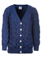Super Soft V- Neck Chunky Cable Knit Cardigan - Ink