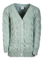 Super Soft V- Neck Chunky Cable Knit Cardigan - Seafoam Green