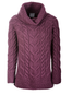 Luxury Chunky Cable Cowl Neck Aran Sweater - Jam