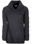 Luxury Chunky Cable Cowl Neck Aran Sweater - Slate Grey