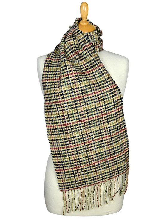 Lambswool Scarf - Multi Color Houndstooth
