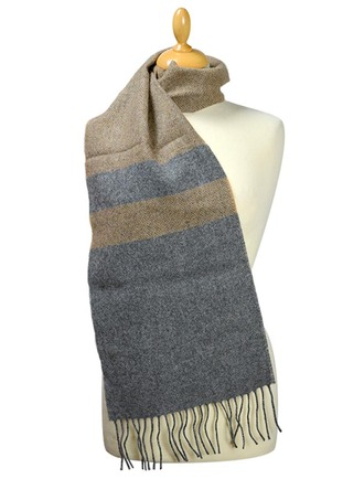 Lambswool Scarf - Two Tone Grey Beige