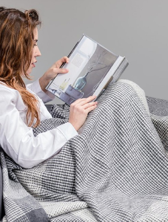 Wool and Cashmere Throw - Grey White Large Check