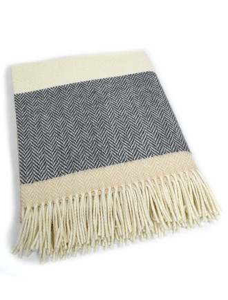 Wool and Cashmere Throw - Bone White Stripe