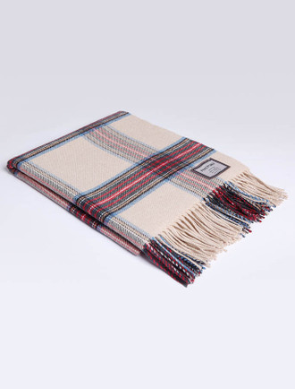 Lambswool Throw - Camel Red Blue
