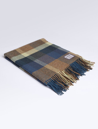 Lambswool Throw - Brown Blue Check