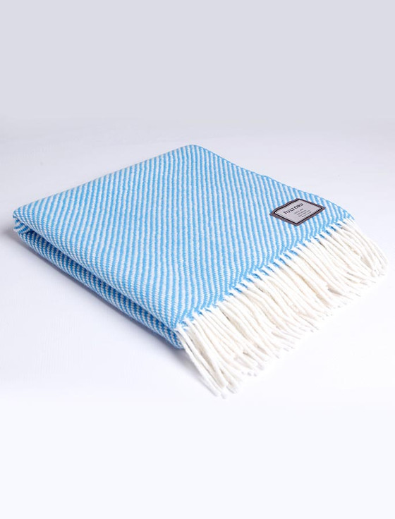 Merino Wool Throw - White Blue