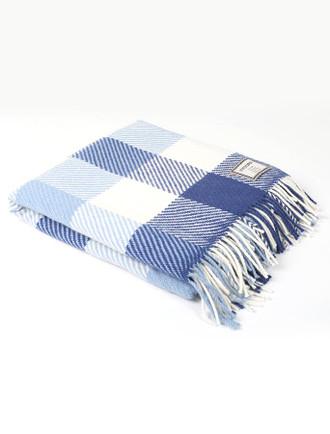 Merino Wool Throw - Cobalt White Check